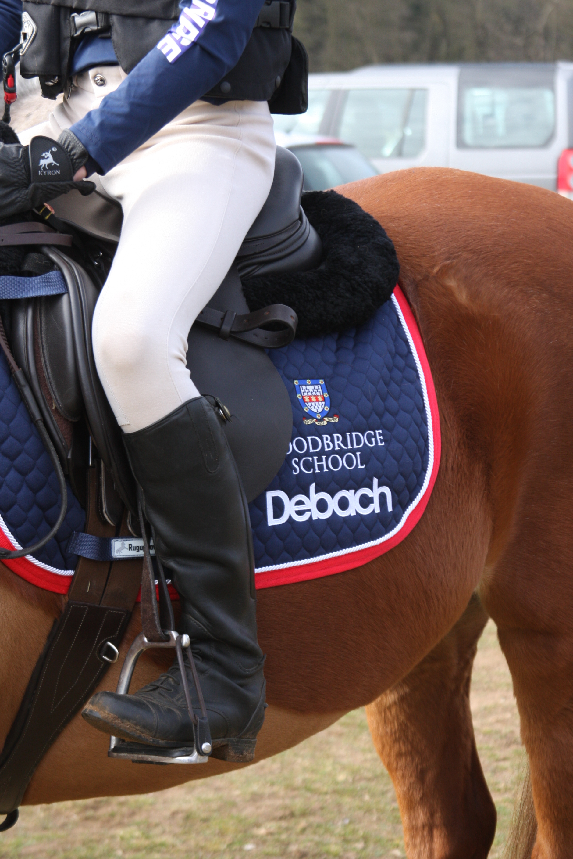 The Debach logo proudly displayed by the Woodbridge School Junior Equestrians.