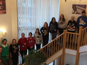 Some of our office staff at our Ipswich depot posing with their jumpers.