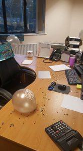 Chrissie's desk decorated!