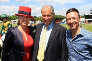 Bee Kemball with Bob Champion and Frankie Dettori.