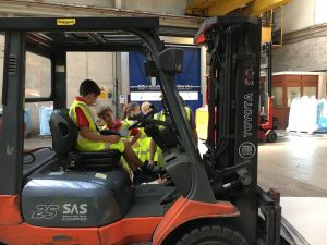 Getting the chance to sit on a forklift
