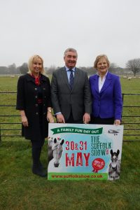 Suffolk Show Director Bee Kemball with SAA Chairman David Nunn and SAA President Baroness Byford
