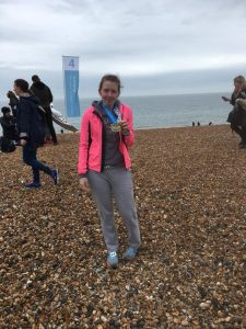 Siân after completing the Brighton Marathon