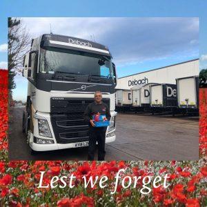 Our Logistics Manager Lionel Scutcher showing respect for Armistice Day